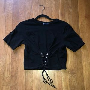 Zara lace front tee